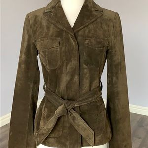 Ann Taylor Olive Green Suede Button Front Jacket